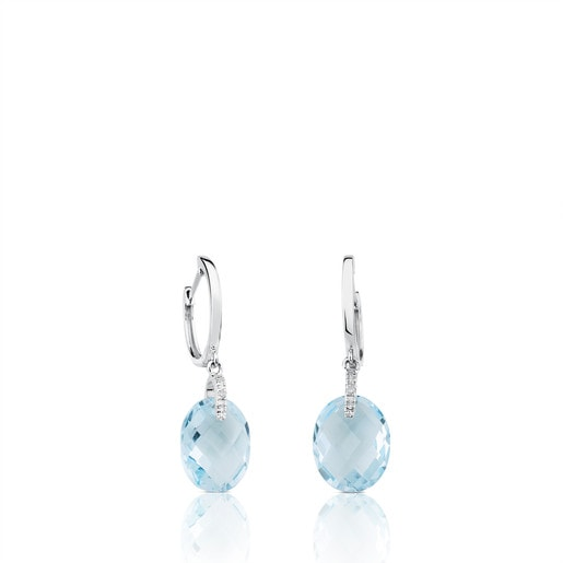 White gold Color Kings Earrings with Diamonds and Topaz