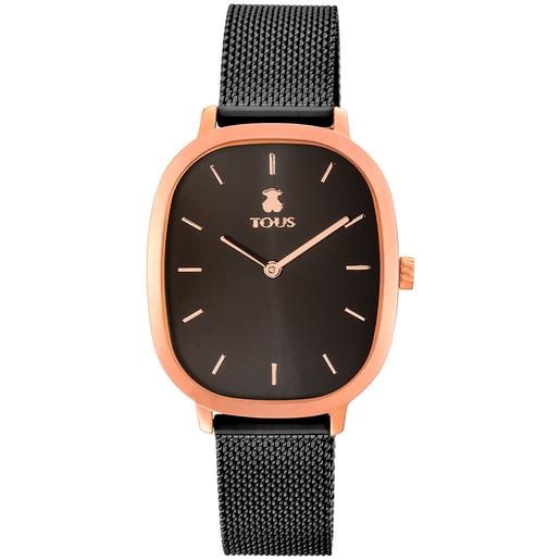 Reloj Heritage de acero IP rosado/IP negro