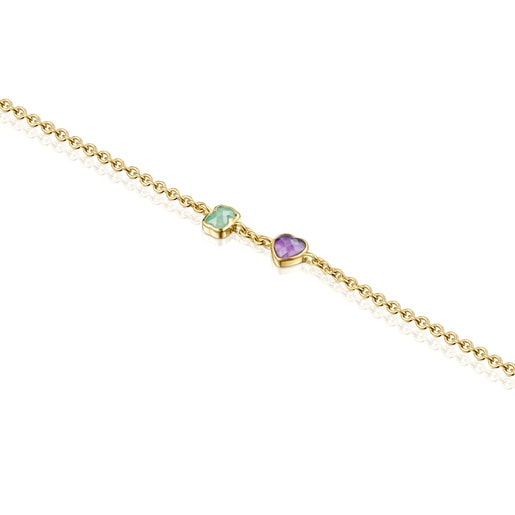 Glory Bracelet in Silver Vermeil with Amethyst and Amazonite