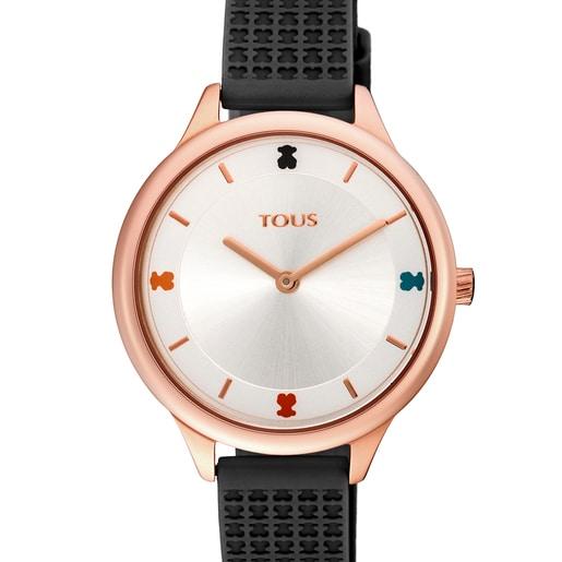 Pink IP Steel Tartan Watch with Black Silicone Strap