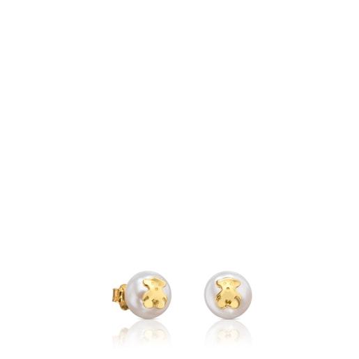 Pendientes con perla TOUS Bear de Oro