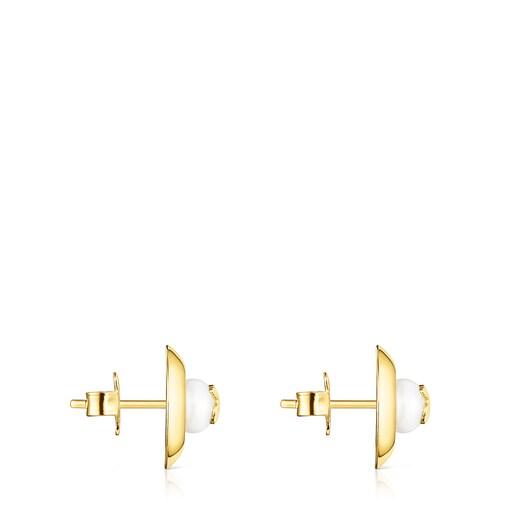 Μικρά Σκουλαρίκια δίσκος TOUS Basics από Ασήμι Vermeil με Μαργαριτάρι