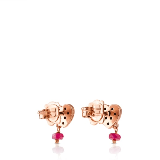 Rose Vermeil Silver TOUS Motif Earrings with Spinel and Ruby and Heart motif