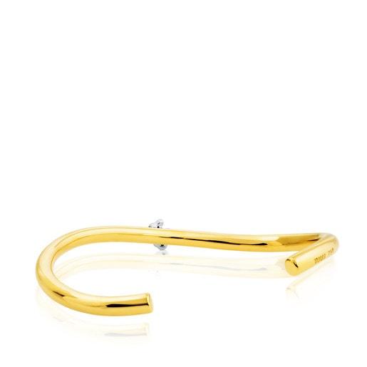 Yellow and White Gold Ondas Bracelet with Diamond