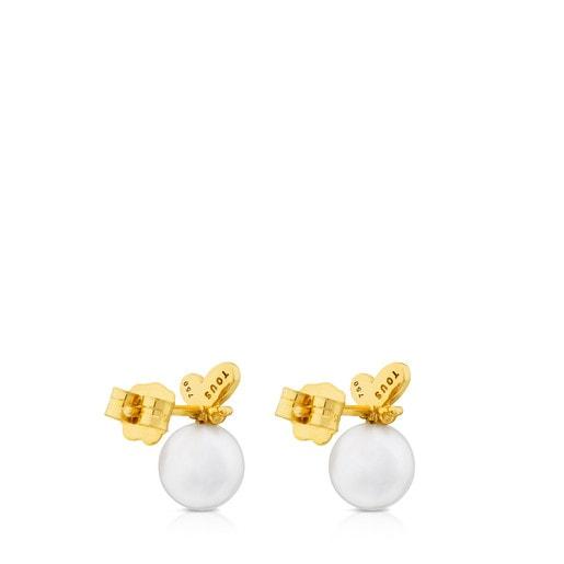Σκουλαρίκια Bear από Χρυσό με Μαργαριτάρι και Διαμάντι