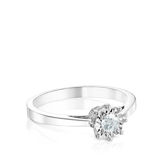Anillo Les Classiques rosetón mediano de Oro blanco y Diamantes 0.15ct