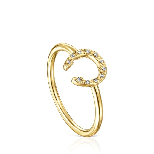Gold TOUS Good Vibes little horseshoe Ring with Diamonds