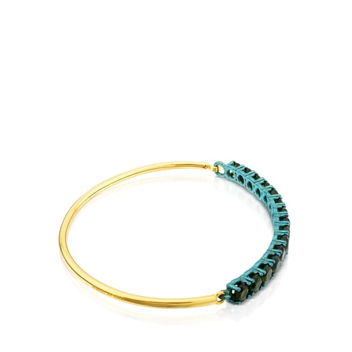 ATELIER Titanium Bangle with Gold and Diopsides