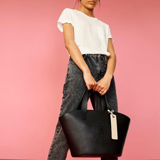 Bolsa shopping grande Leissa de Piel en color negro