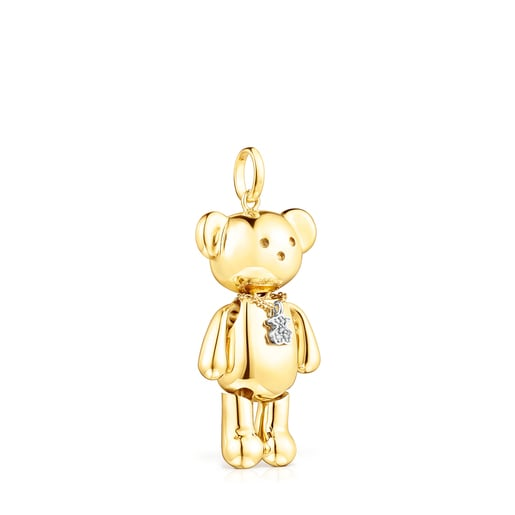 Large Gold Teddy Bear Pendant with Diamonds – Limited edition