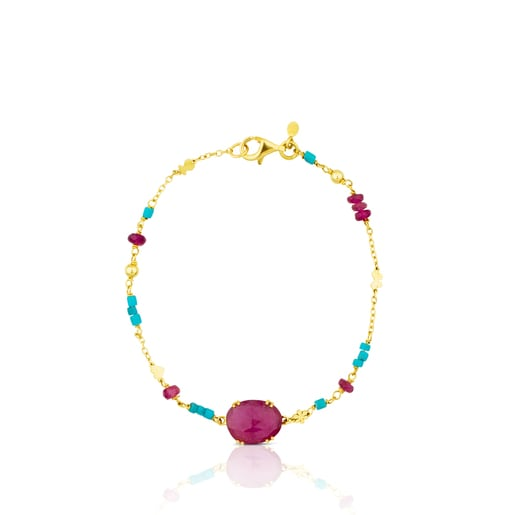 Gold Miamix Bracelet with Ruby and Turquoises