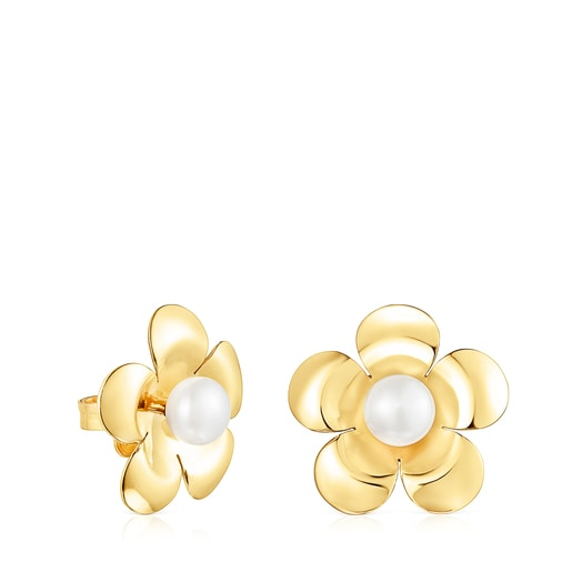 Silver Vermeil Fragile Nature flower Earrings with Pearl