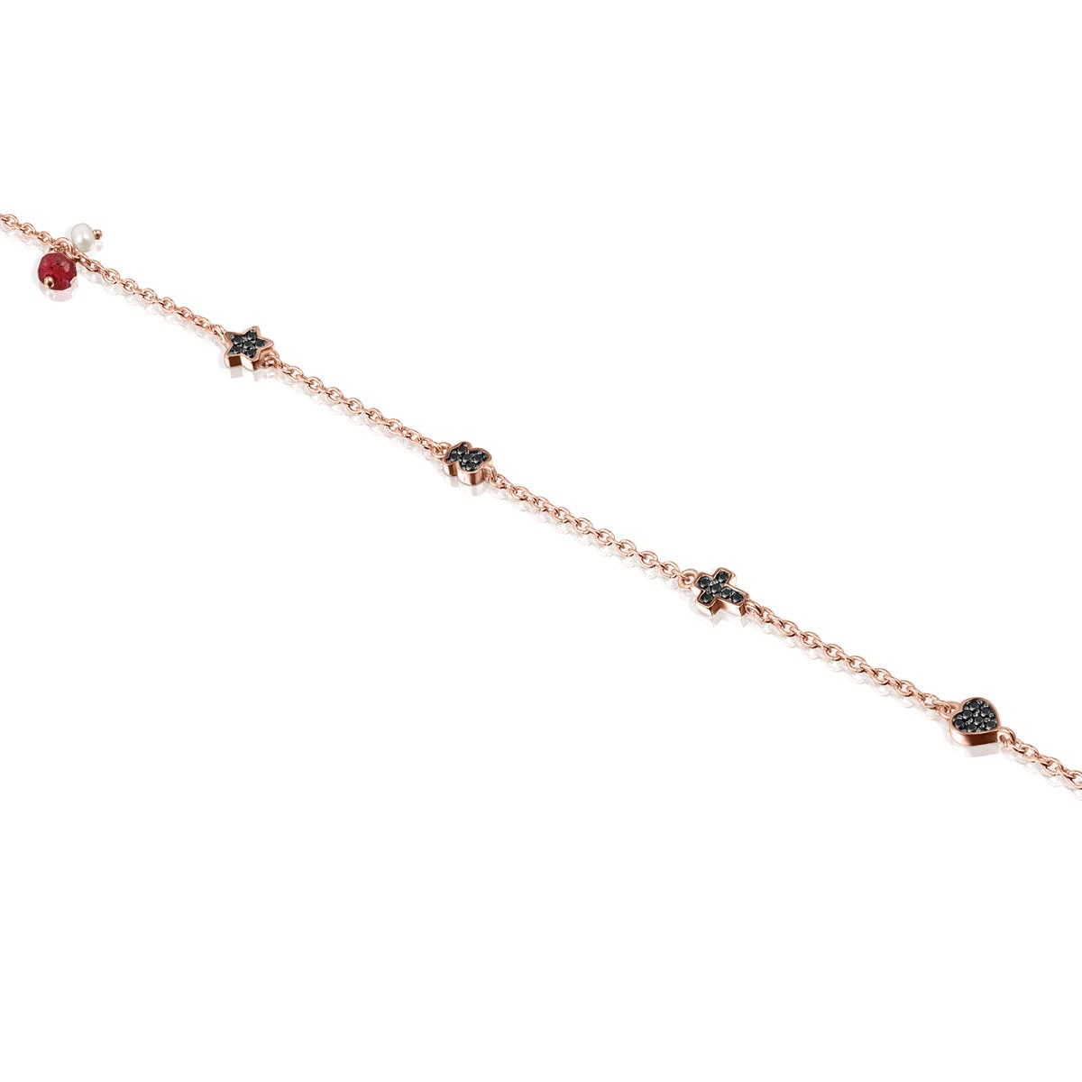 Rose Gold Vermeil Motif Bracelet with Spinels, Ruby and Pearl