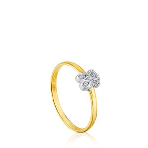 White and Yellow Gold Puppies Ring with Diamond