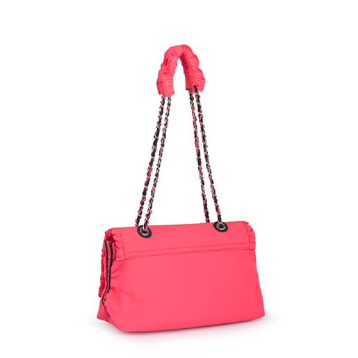 Fluorescent Pink T Lux Crossbody Bag with Flap