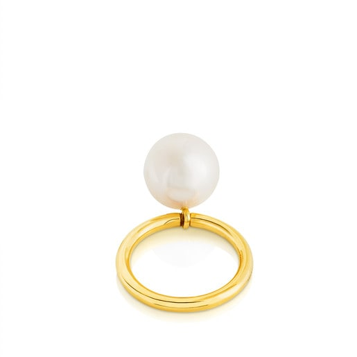 Vermeil Silver Sul Ring with Pearl
