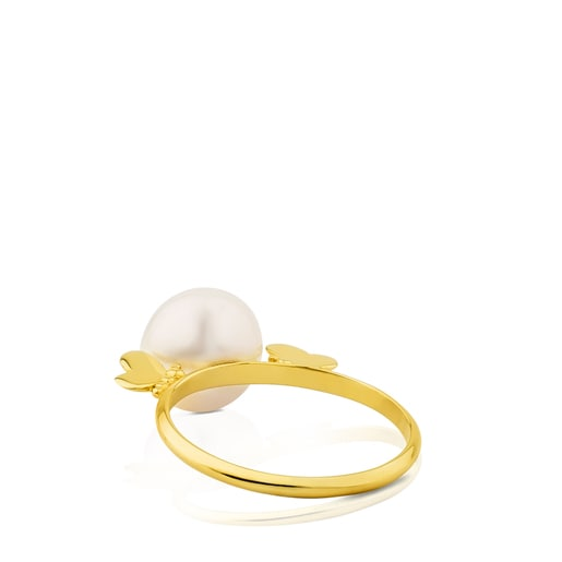 Gold Bera Butterfly Ring with Pearl