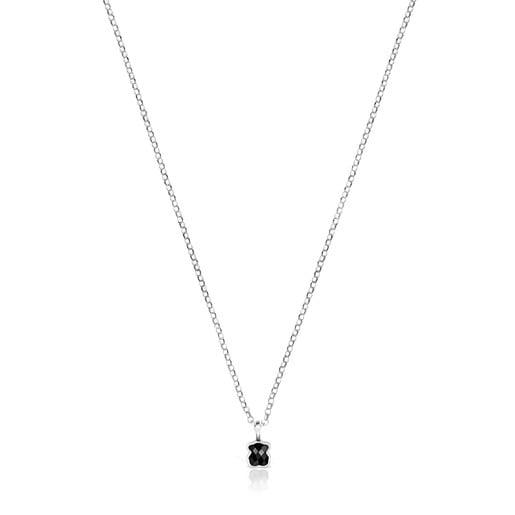 Collar Mini Onix de Plata con motivo Oso de Ónix facetado