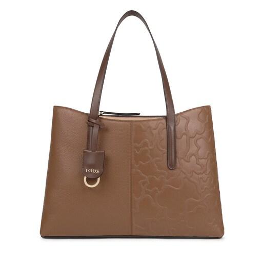 Shopping grande Tous Icon de piel marrón