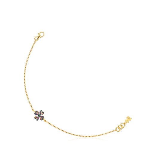 Silver Vermeil TOUS Good Vibes clover Bracelet with Gemstones