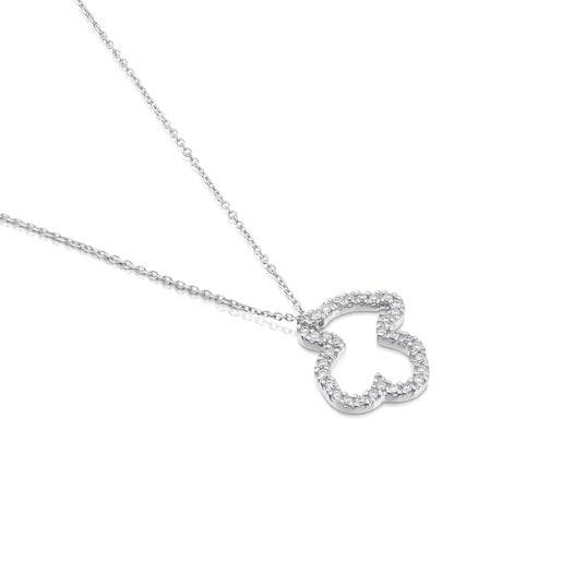 Collar Icon Gems de Oro blanco con Diamantes motivo Oso pequeño