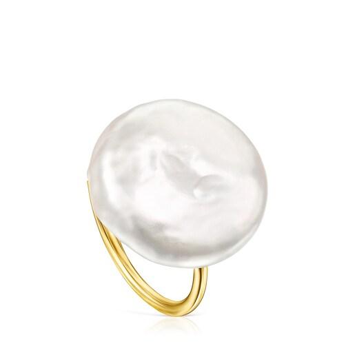 Anillo Nenufar pétalo de plata vermeil y perla