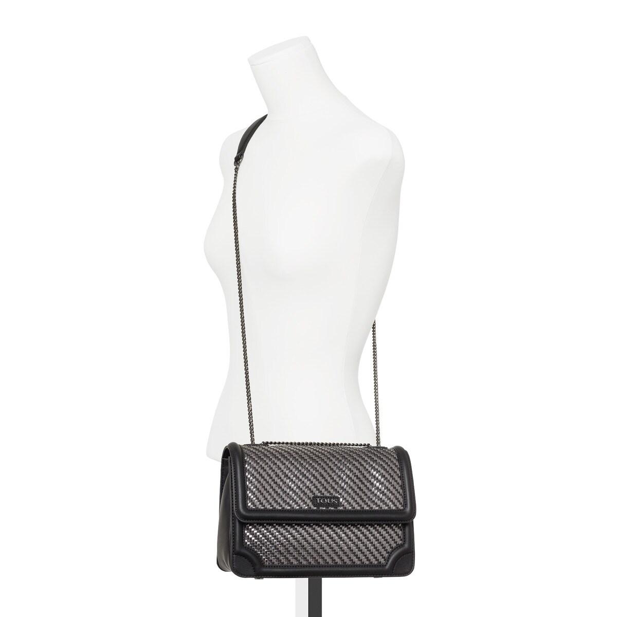 96635afc6097 Medium black-silver Obraian Braided Crossbody bag - Tous Site GB