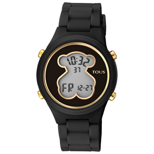 Polycarbonate D-Bear Watch with black silicone strap