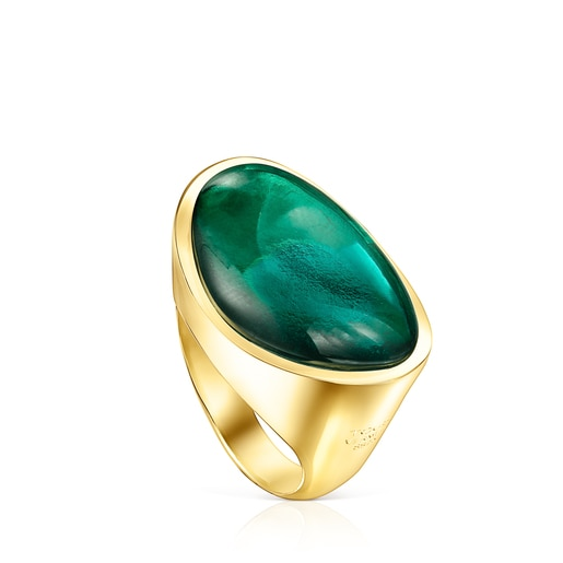Silver Vermeil Cocktail Ring with green Glass