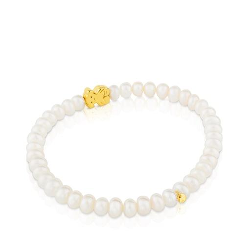 Pulsera elástica en oro amarillo y perlas Sweet Dolls