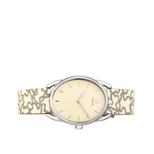 Steel Dai Watch with beige Leather Kaos strap