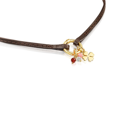 Silver Vermeil TOUS Good Vibes clover Necklace with Gemstones and brown Leather
