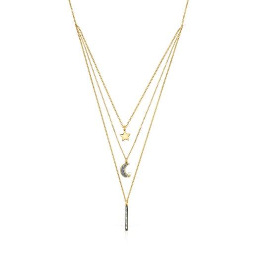 Collar triple Nocturne de Plata Vermeil,Diamantes y Perla