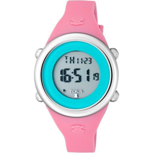 Reloj Soft Digital de acero con correa de silicona fúcsia