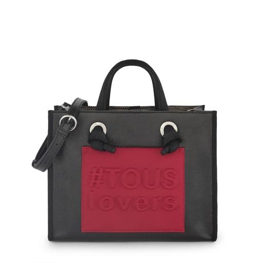 Medium Metallic Black Amaya Shopping Bag
