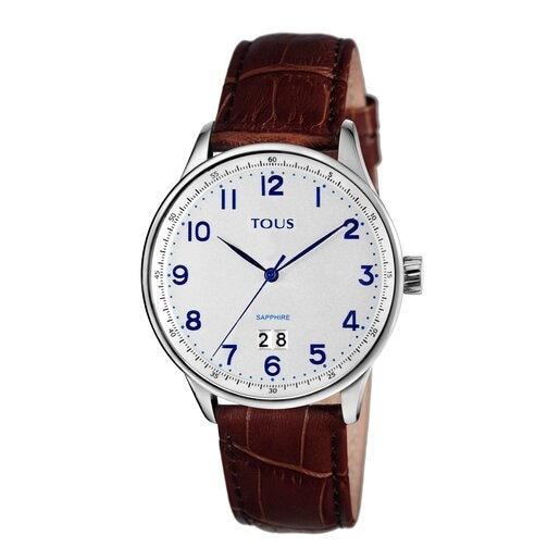 Steel Porto II Watch with brown Leather strap
