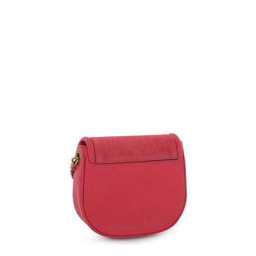 Κόκκινη τσάντα χιαστί T Hold Chain από δέρμα