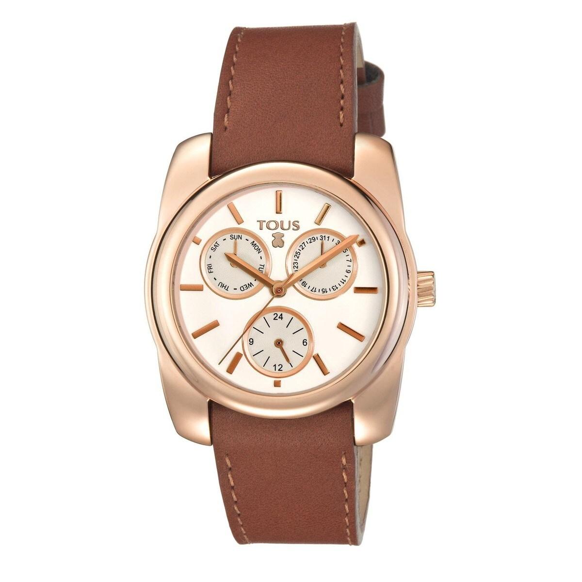 Rellotge Bercy d'acer IP rosat amb corretja de pell marró