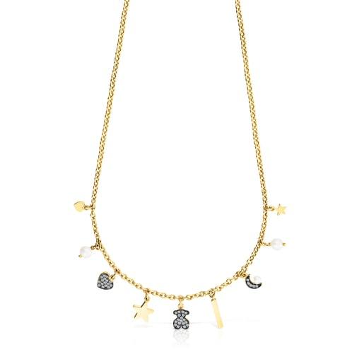 Collar Nocturne motivos de Plata Vermeil, Diamantes y Perlas