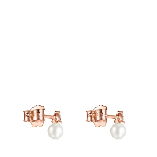 Boucles d'oreilles Light en Or rose avec Diamants et Perle