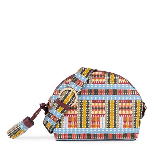 Μεσαίου μεγέθους πολύχρωμη-μπορντό τσάντα Χιαστί Alicya