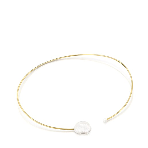 Collar rígido Nenufar pétalo de plata vermeil y perlas
