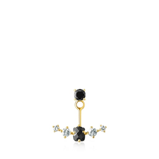Silver Vermeil Glaring 1/2 Earring with Onyx and Zirconia