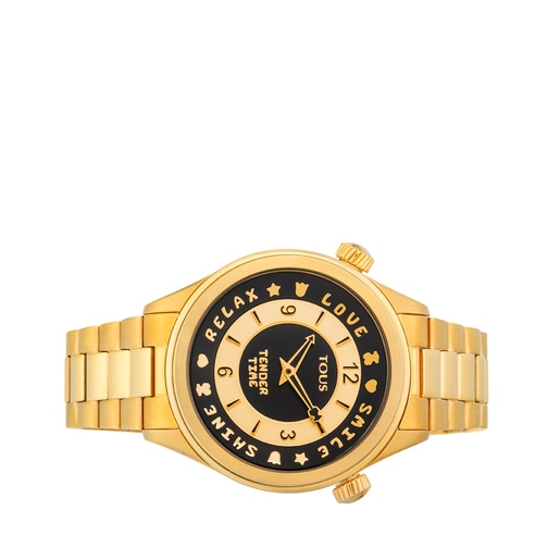 Gold-colored IP Steel Tender Time Watch with rotating bevel