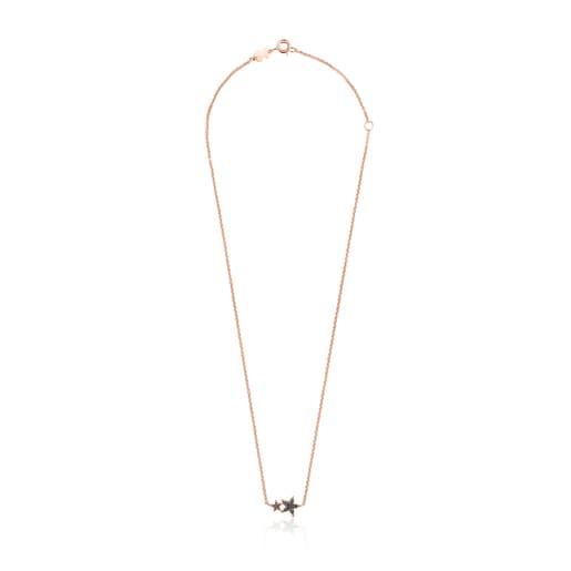 Collar Teddy Bear Stars de plata vermeil rosa, espinela y rubí