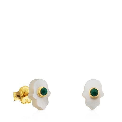 Ohrringe Super Power aus Gold und Perlmutt mit Malachit