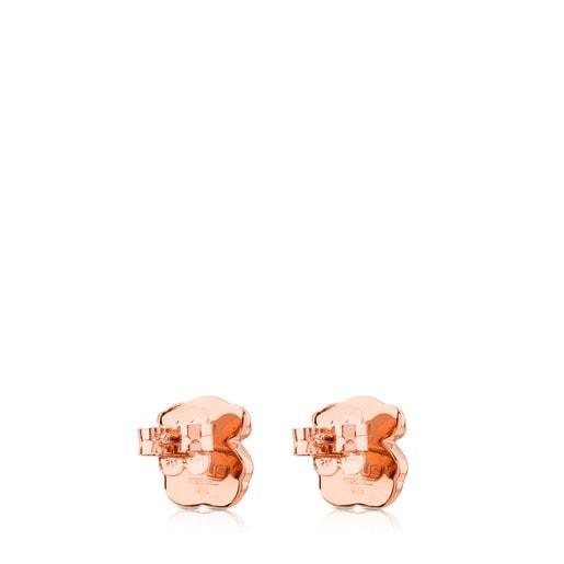 Pendientes de plata vermeil rosa y ónix facetado Motif