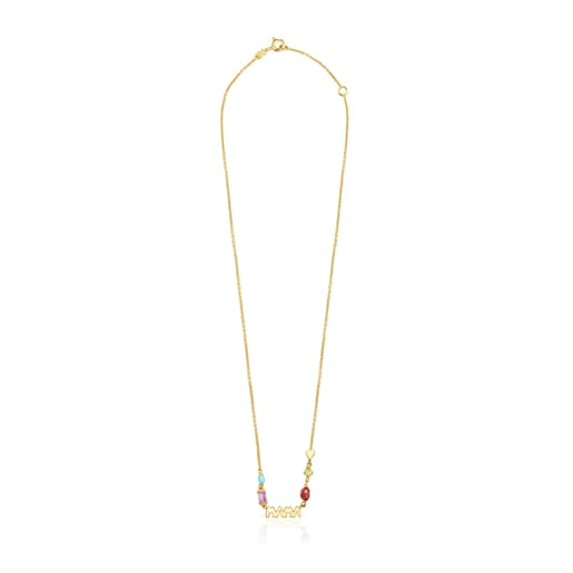 Silver Vermeil TOUS Mama Necklace with Gemstones