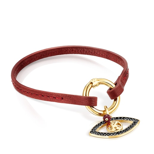 Silver Vermeil TOUS Good Vibes eye Bracelet with Gemstones and red Cord