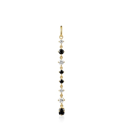 Long Silver Vermeil Glaring Pendant with Onyx and Zirconia